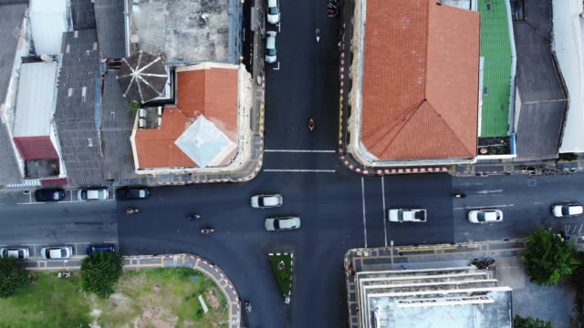 aerial view old town of phuket, thailand - 顕花植物点の映像素材/bロール