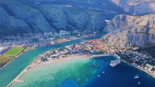 aerial view omis town & landscape - contrasts stock videos and b-roll footage