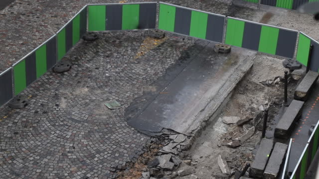 aerial view on a construction site in the street, renovation of a road