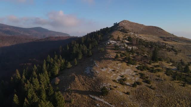 vídeos de stock e filmes b-roll de aerial view on a hill top in autumn - eslovénia