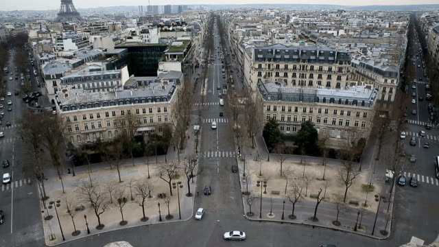 Aerial view on Champs Elysee Paris