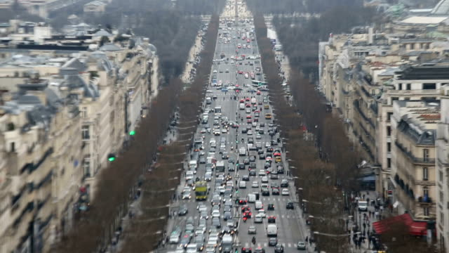aerial view on champs elysee paris - avenue des champs elysees stock videos & royalty-free footage