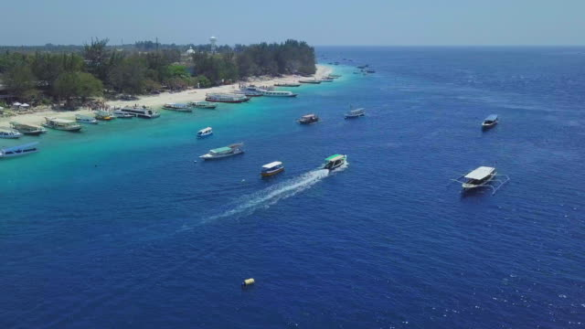 aerial view on gili islands coastline - ferry stock videos & royalty-free footage