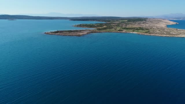 aerial view on island in adriatic sea - adriatic sea stock videos & royalty-free footage