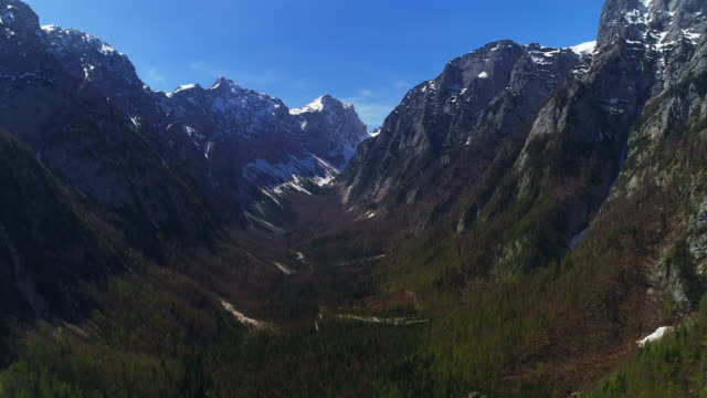 aerial view on julian alps in springtime - julian alps stock videos and b-roll footage