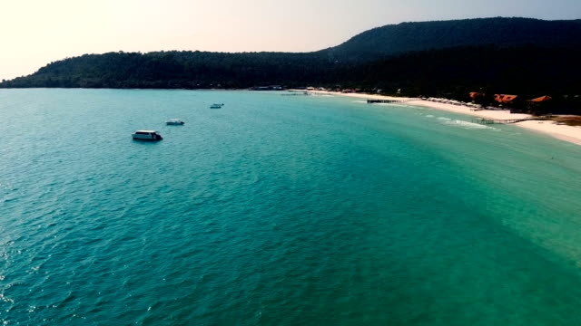 aerial view on koh rong island dream beach cambodia - gulf of thailand stock videos & royalty-free footage