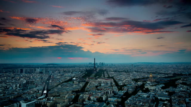 time lapse: aerial view on paris at sunset - eiffel tower stock videos and b-roll footage