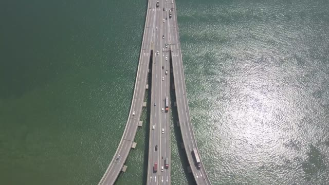 aerial view on penang bridge . penang coaster line city malaysia - malaysia stock videos & royalty-free footage