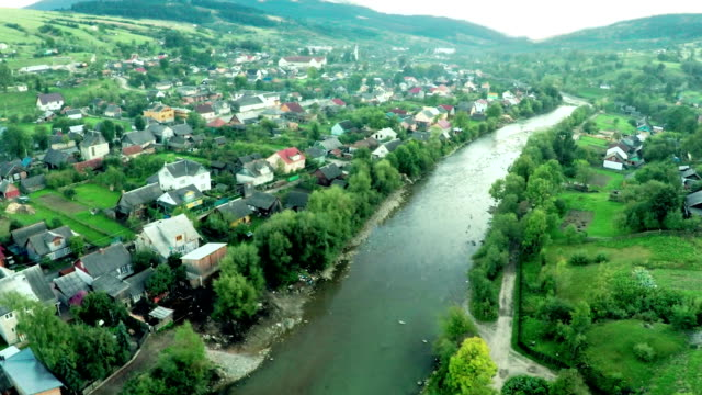 aerial view on river in mountains - ukraine stock videos & royalty-free footage