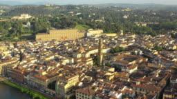 Aerial view on the Basilica of Santo Spirito and Palazzo Pitti