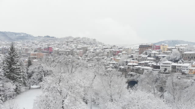 Aerial view on the winter city covered by snow