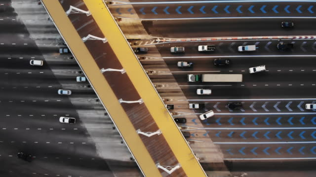 aerial view on toll collection point on motorway - blocco stradale video stock e b–roll