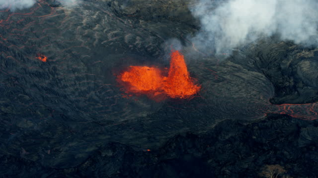aerial view open fissure magma from earths crust - tectonic stock videos & royalty-free footage