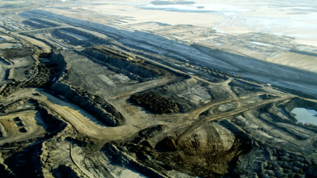 aerial view open pit bench mining fort mcmurray - oil industry stock videos & royalty-free footage