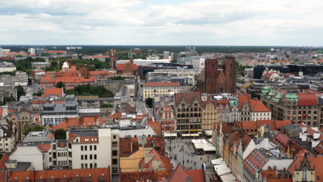aerial view: orange roof of building in old city of  Wroclaw, Poland
