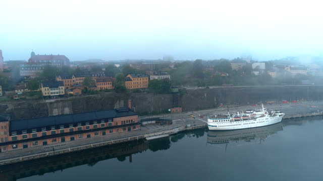 Aerial view over a cruise ship in Stockholm harbor