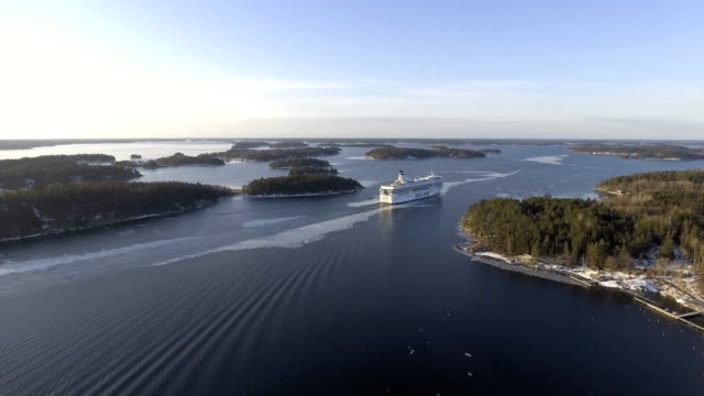 Aerial view over a cruise ship
