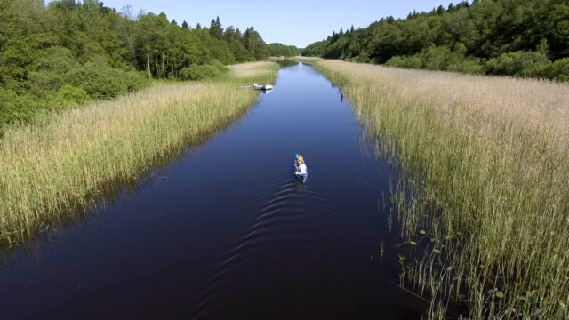 aerial view over a father and son in a canoe - practicing stock videos & royalty-free footage