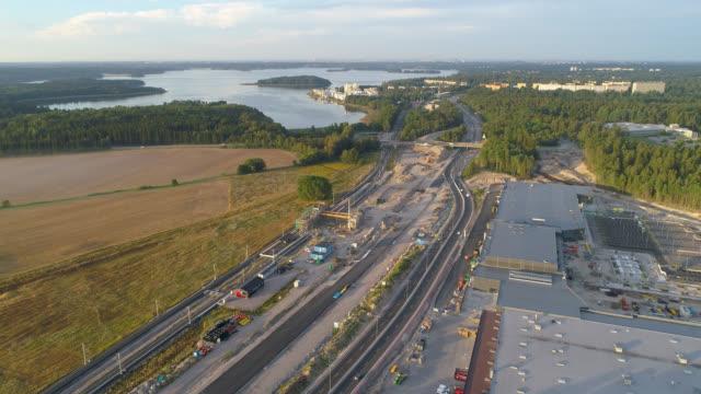 flygfoto över en motorväg byggarbetsplats - remus kotsell bildbanksvideor och videomaterial från bakom kulisserna