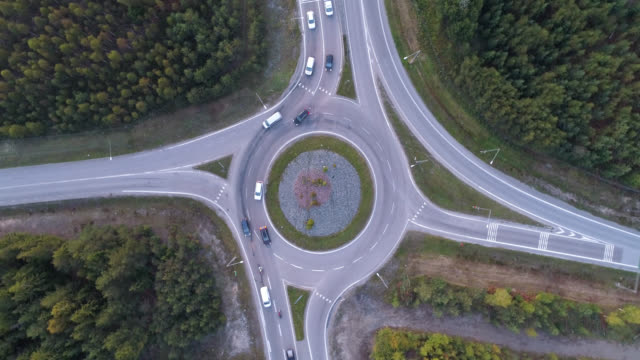 aerial view over a highway in a rural landscape - viewpoint stock videos & royalty-free footage