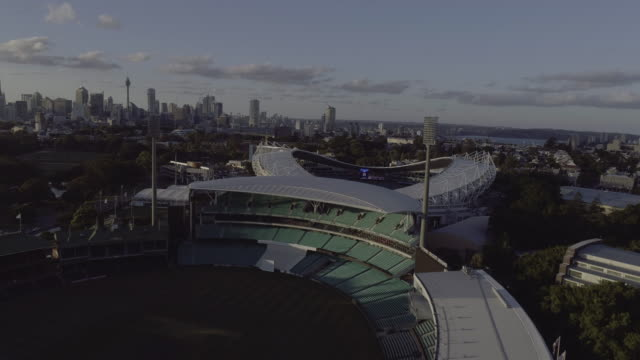 Aerial view over a light tower of the Sydney Cricket Ground. Sydney Australia.