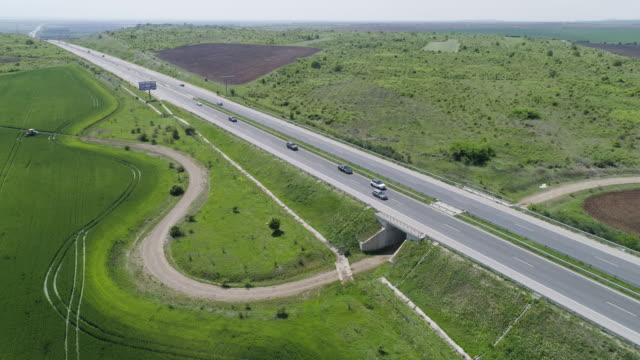 aerial view over a straight road through the forest in springtime. highway. - transportation event stock videos & royalty-free footage
