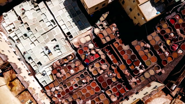 Aerial view over a tannery seen from the sky in the city of Fez, Morocco