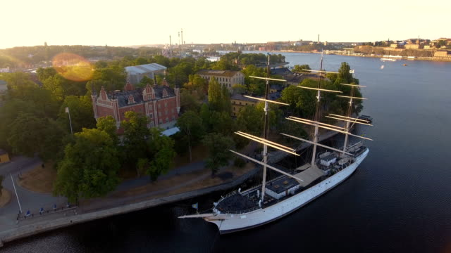 Flygfoto över Af Chapman fartyget i Stockholm