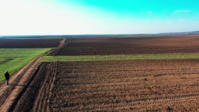 vídeos y material grabado en eventos de stock de vista aérea sobre campos agrícolas y caminos de tierra - oficio agrícola
