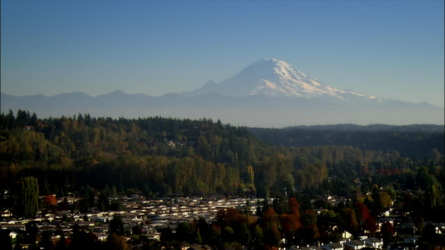 Aerial view over Auburn with Mount Rainier in the background / Washington