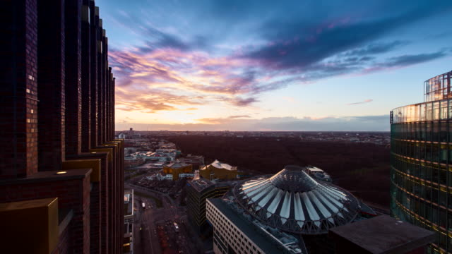 aerial view over berlin at sunset - potsdamer platz stock videos & royalty-free footage