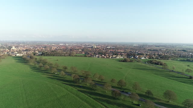 aerial view over beverley westwood common - natural parkland stock videos & royalty-free footage