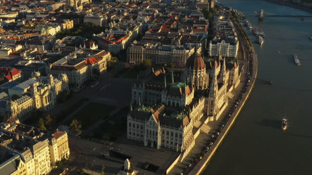 aerial view over budapest hungary - hungary stock videos & royalty-free footage