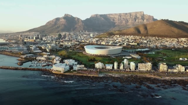 Aerial view over Cape Town, to Table Mountain