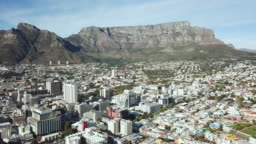 Aerial view over Cape Town, with Table Mountain, South Africa