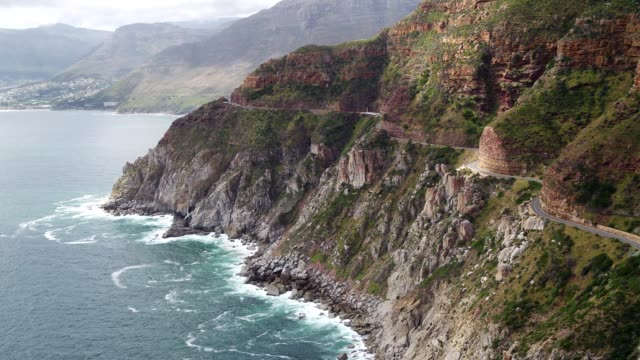 aerial view over chapman's peak drive - strand south africa stock videos & royalty-free footage
