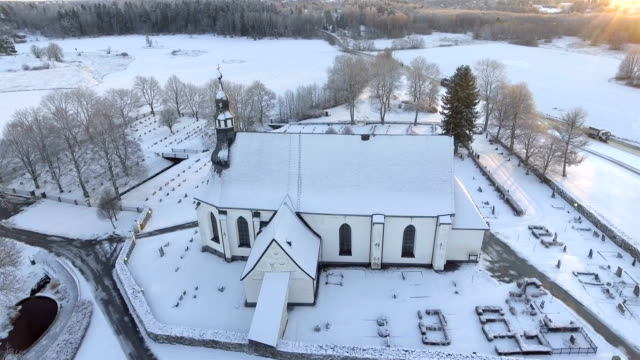 aerial view over church - church stock videos & royalty-free footage