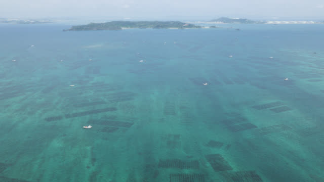 aerial view over coastal islands with offshore underwater seaweed farms. japan. - pazifik stock-videos und b-roll-filmmaterial