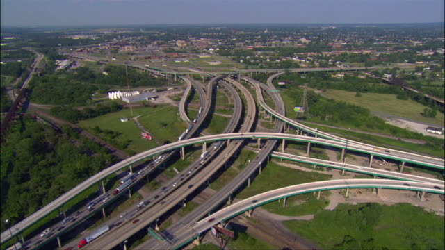 aerial view over criss-cross of highway overpasses / east st. louis, illinois - crisscross stock videos & royalty-free footage