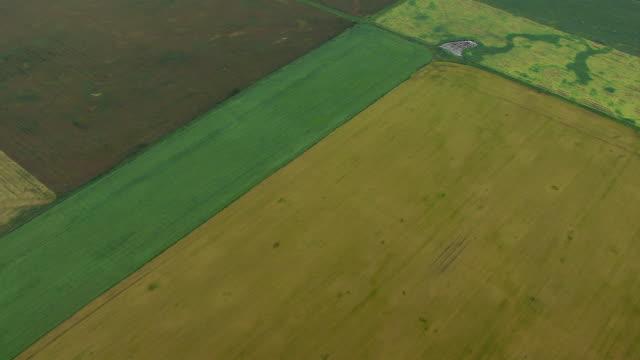 Aerial View Over Crop Fields In Alberta