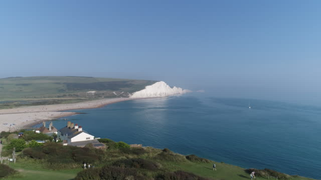 Aerial view over Cuckmere Haven moving out to sea