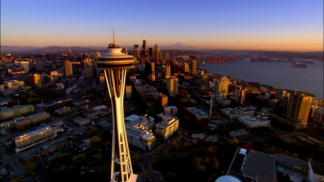 aerial view over downtown seattle with mount ranier in background / dusk / seattle, washington - mt rainier stock videos & royalty-free footage