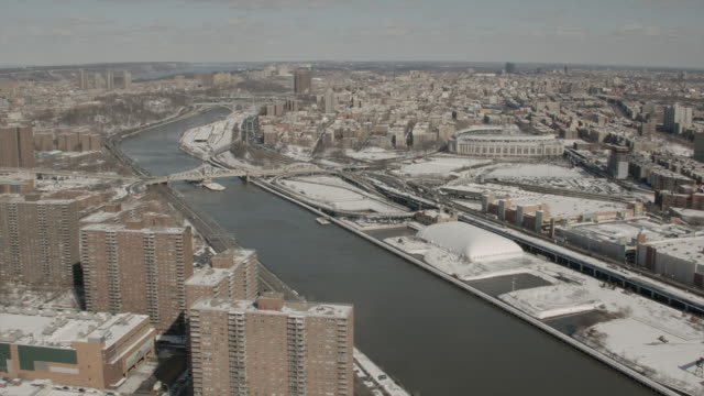Aerial View Over East Harlem, The Harlem River and The Bronx Facing North