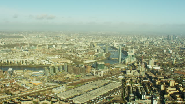 aerial view over english capital city london england - battersea stock videos & royalty-free footage