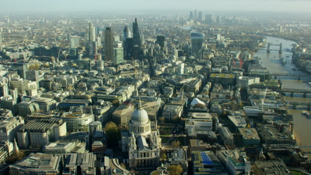 aerial view over english capital city london england - anglican stock videos & royalty-free footage