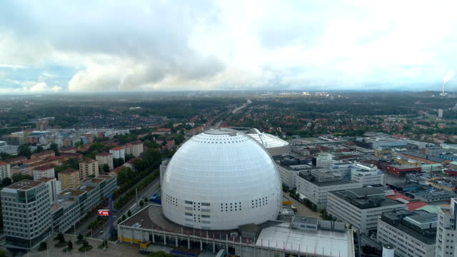 Aerial view over Ericsson Globe in Stockholm