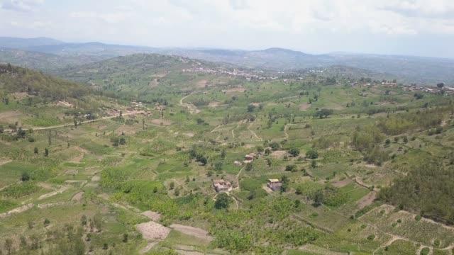 アフリカ農村の肥沃農場の上空からの眺め - ルワンダ点の映像素材/bロール