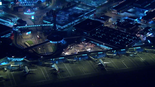 aerial view over gatwick airport - city stock videos & royalty-free footage