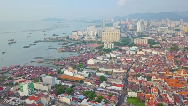 aerial view over george town, heritage penang located on the northwest coast of peninsular malaysia - penang stock videos and b-roll footage