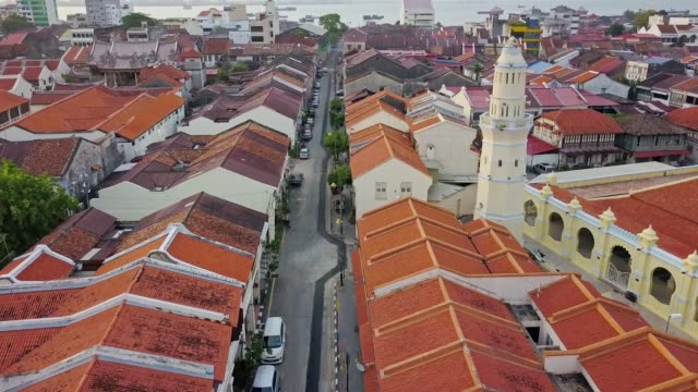 aerial view over george town, heritage penang located on the northwest coast of peninsular malaysia - malaysia stock videos & royalty-free footage